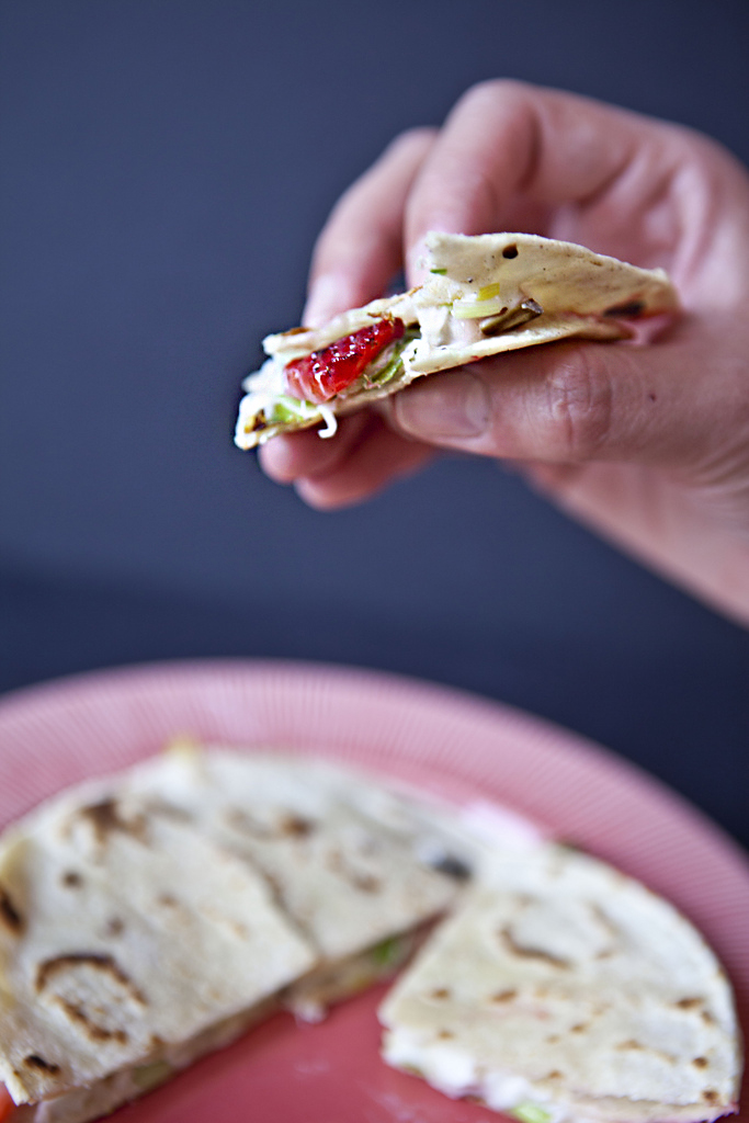 strawberry & leek quesadilla